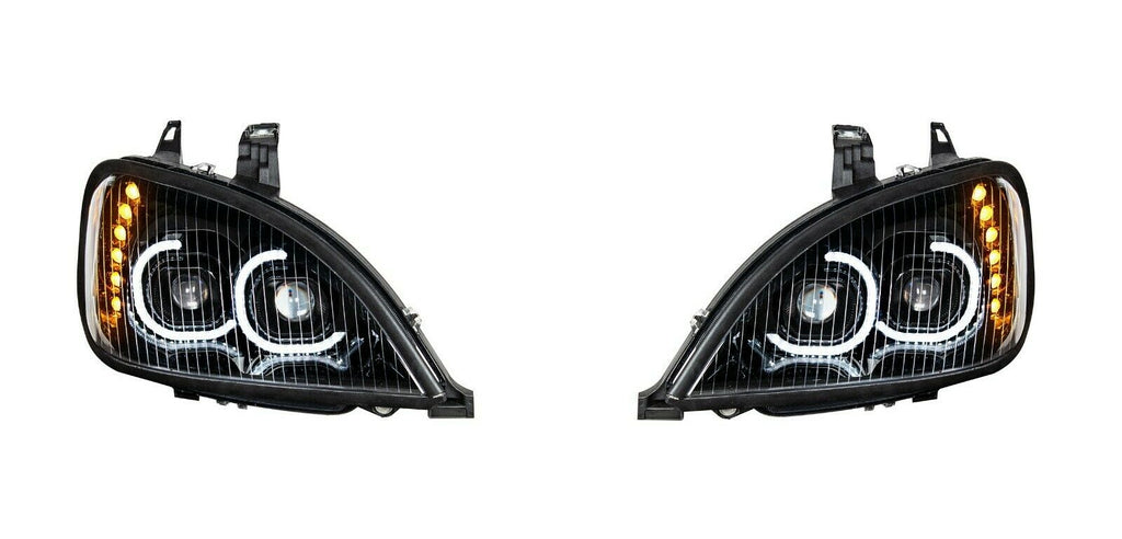Pair of Blackout LED Headlights with LED Turn Signal & Halo for Freightliner Columbia - 2