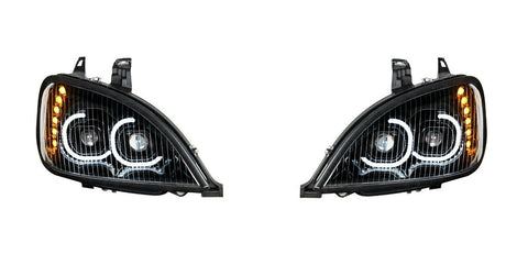 Image of Pair of Blackout LED Headlights with LED Turn Signal & Halo for Freightliner Columbia - 2