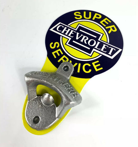 Image of Vintage Style Chevrolet Super Service Chevy Wall Mount Metal Bottle Opener Sign - 3