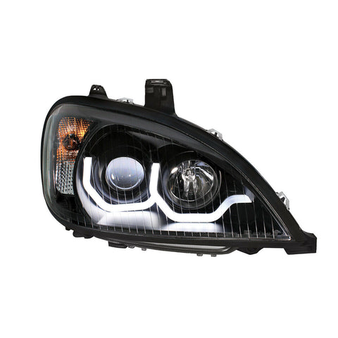 "Image of Pair ""Blackout"" Headlights with White LED Light Bar for Freightliner Columbia - 4"