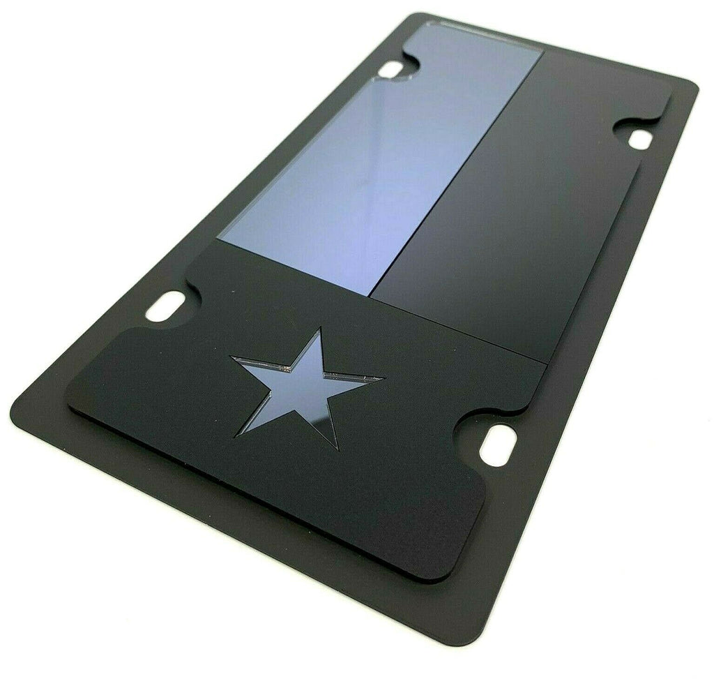 Texas Flag Vanity License Plate - Blacked Out Opaque - Main