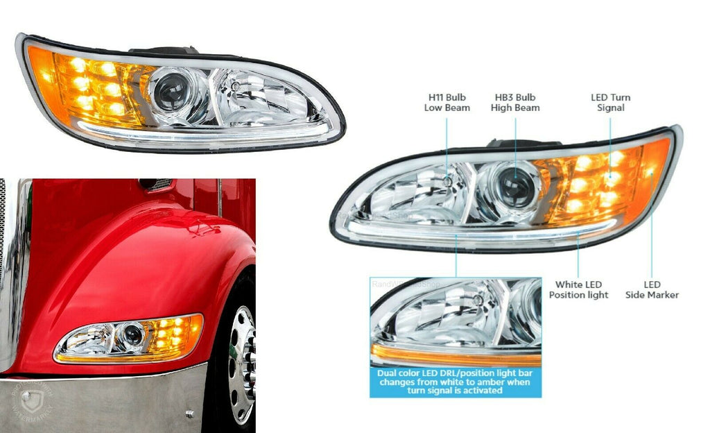 Pair of Chrome Projection Headlights with LED DRL & Turn Signals for Peterbilt