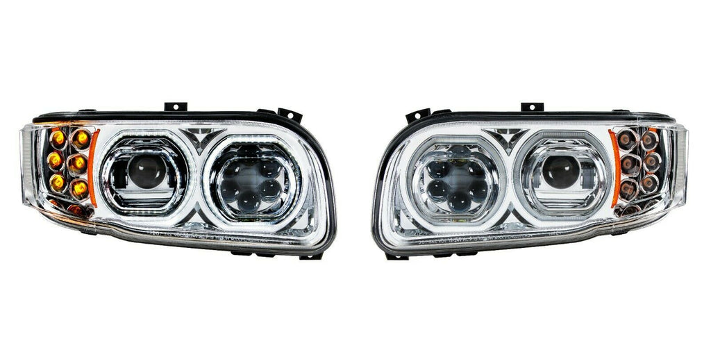 Pair of All LED Headlights with LED Halos DLR & Turn Signals for Peterbilt 388/389 - 2