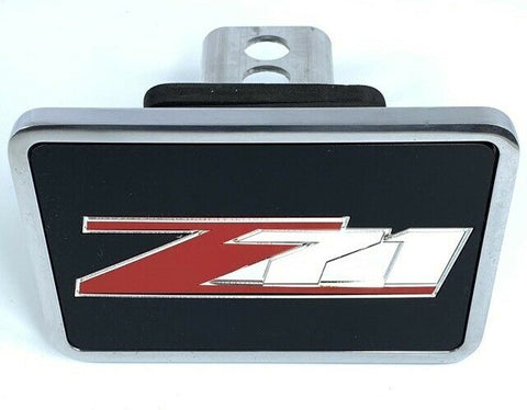Chevy Z71 Tow Hitch Cover - Black w/ Red and Silver Logo - Top