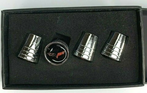 Corvette C6 Valve Stem Caps - Tapered Chrome w/ Black - Main