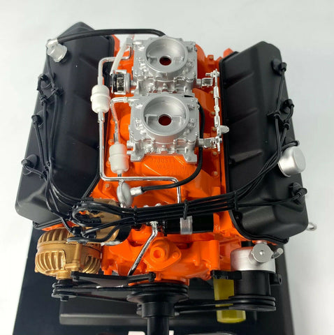 Model Engine 1:6 Scale Replica Diecast Of Orange Dodge HEMI 426 Motor - 9