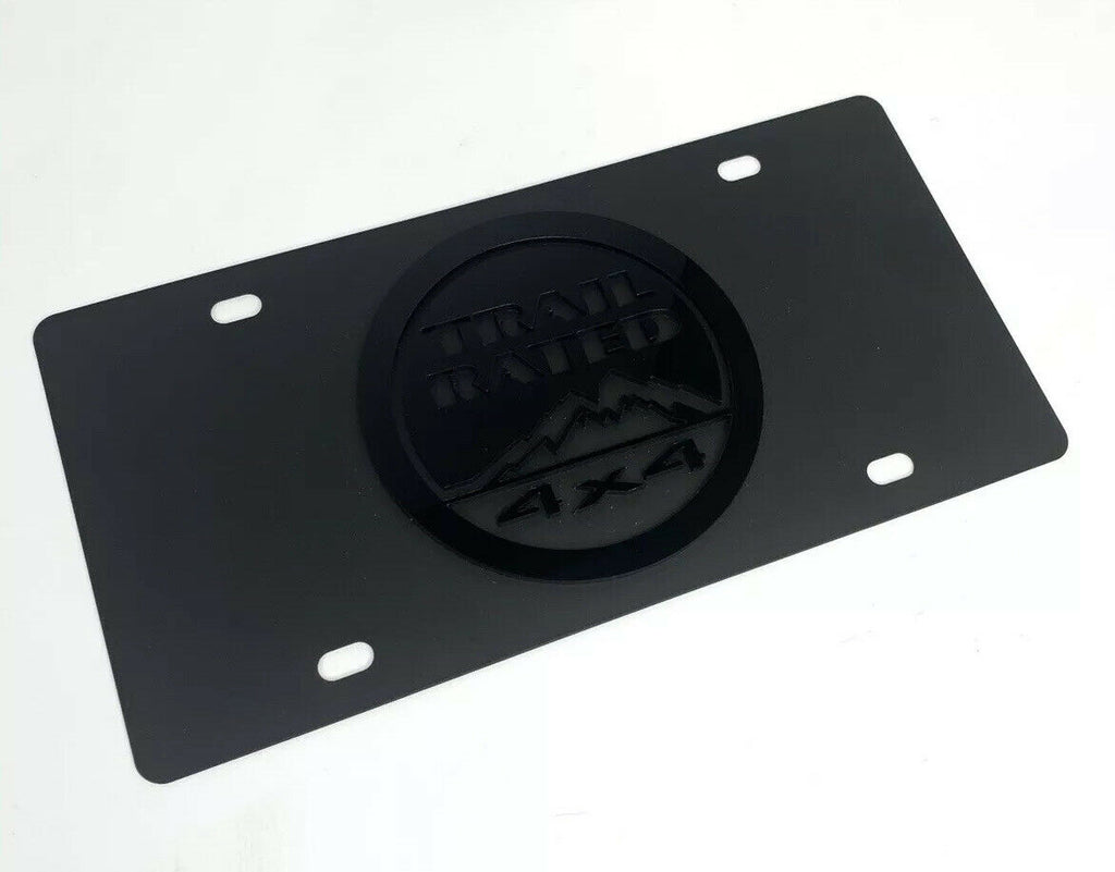 Jeep Trail Rated 4x4 License Plate - Black w/ 3D Gloss Black Emblem