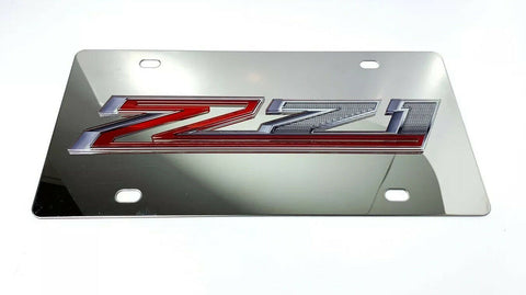 Image of Chevy Silverado Z71 Emblem Chrome License Plate - 3D Gloss Logo - 3