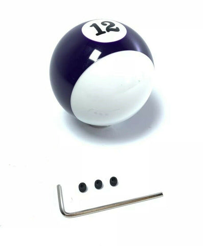 Pool Ball Gear Shift Knob (Purple Stripes, Number 12)-Live Fast Supply Company