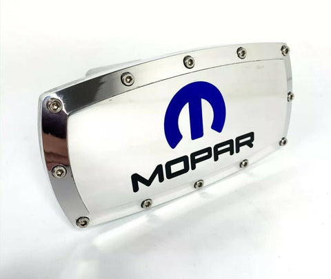 "MOPAR M Logo Polished Hitch Cover Plug For 2"" Inch Tow Receiver - Blue Inlay - 2"