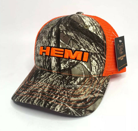 Dodge HEMI Hat / Cap - Hunters Camo w/ Orange Emblem