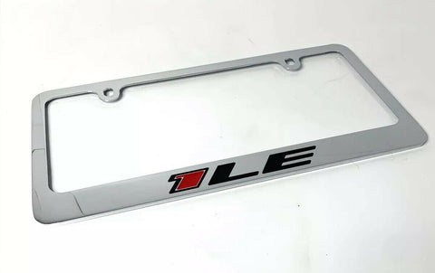 Chevy Camaro 1LE Chrome License Plate Frame - Premium Engraved Emblem