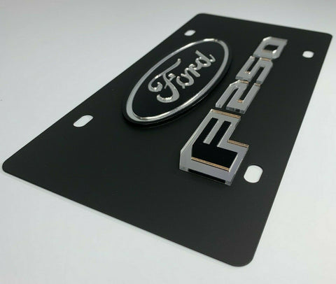 Ford F-250 Vanity License Plate - Black w/ Chrome Script-Live Fast Supply Company