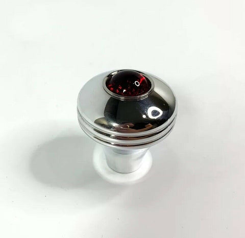 Red Glass Eye Vintage Style Shift Knob - Polished Aluminum (16mm x 1.5mm Thread) - 1