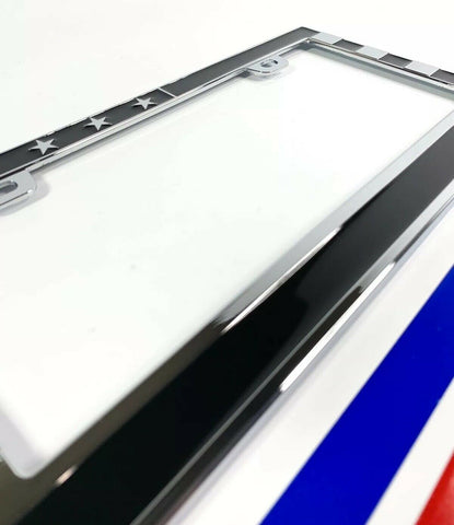 Image of American Flag License Plate Frame - Police Firefighter First Responder - Close up