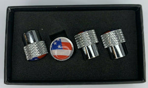 American Flag Valve Stem Caps - Knurled Chrome - Main