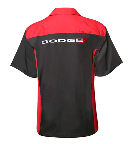 Image of Mechanic Style Button Up Shirt - Black & Red W/ White & Red Dodge Emblem