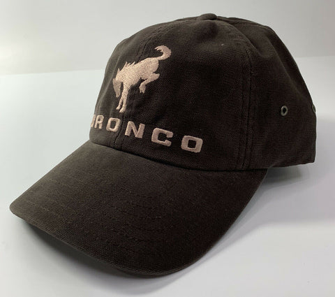 New 2021 Ford Bronco Hat / Cap - Brown w/ Embroidered Tan Bronco Emblem & Script - 2