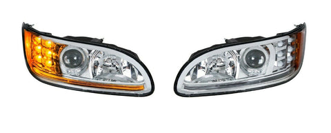 Image of Pair of Chrome Projection Headlights with LED DRL & Turn Signals for Peterbilt - 3