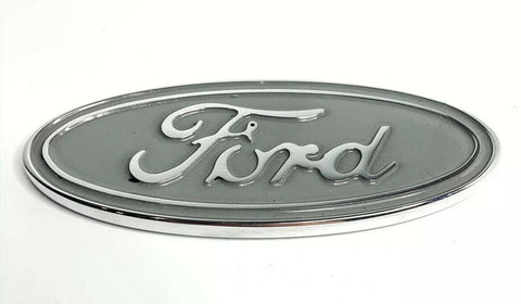 "Image of Ford Oval Tailgate Emblem - 5"" Premium Chrome & Silver Billet Aluminum - 1"