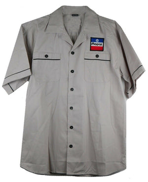 Mechanic Style Button Up Shirt W/ Mopar Red, White & Blue Logo / Emblem