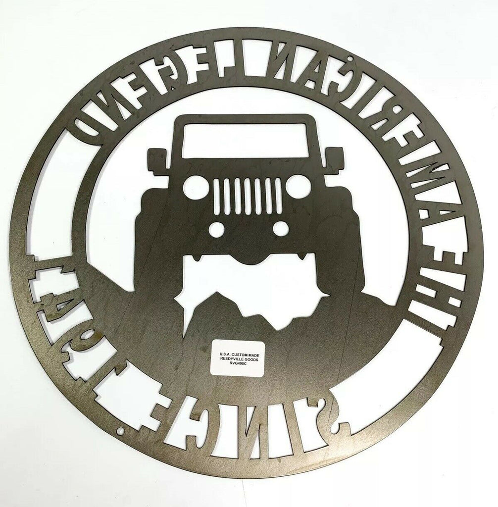 The American Legend Jeep Off Road Laser Cut Metal Sign (14'' Diameter) - 4