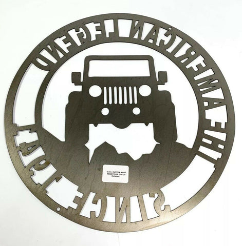 Image of The American Legend Jeep Off Road Laser Cut Metal Sign (14'' Diameter) - 4