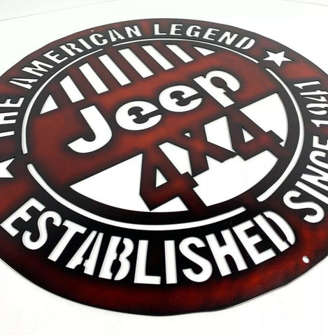 Image of The American Legend Jeep Off Road 4x4 Laser Cut Metal Sign (18'' Diameter) - 1