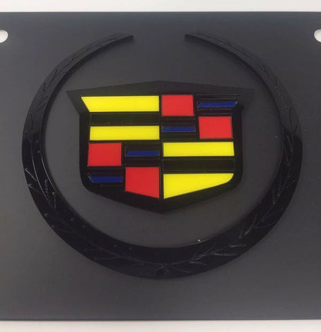 Image of Black Cadillac Vanity License Plate - Black Hood Emblem Crest