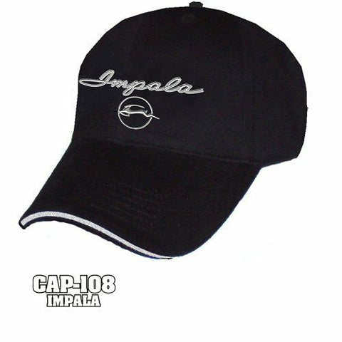 Chevy Impala Hat - Black w/ Chrome Liquid Metal 1964 Emblem