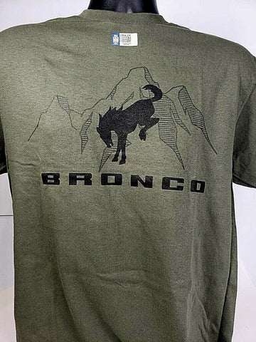 New 2021 Ford Bronco T-Shirt - Green w/ Black Emblem / Logo & Script - 3