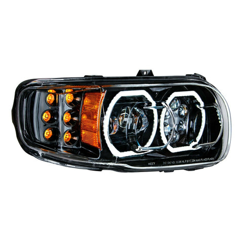 Image of Pair of Blackout LED Headlights with LED Halos & Turn Signals for Peterbilt 388/389 - 5