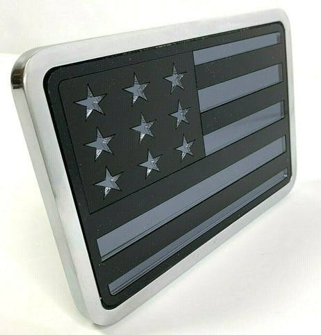 "Image of Blacked Out American Flag Tow Hitch Cover - 2"" & 2.5"" Recievers-Live Fast Supply Company"