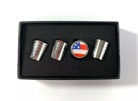 American Flag Valve Stem Caps - Tapered Chrome - Main