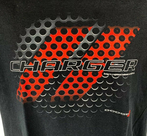 Black T-Shirt w/ Red & Black Dodge Charger Grill Emblem / Logo - Licensed - 3