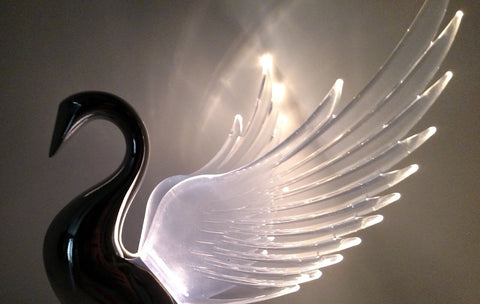 Image of Chrome Swan / Bugler Hood Ornament - Clear Lighted Wings Flying Windrider - 1