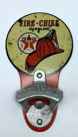Vintage Style Texaco Fire Chief Wall Mount Metal Bottle Opener Sign