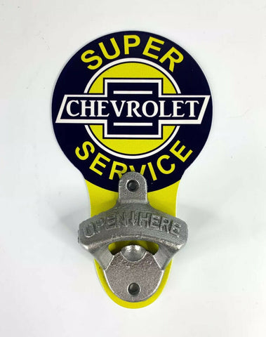 Vintage Style Chevrolet Super Service Chevy Wall Mount Metal Bottle Opener Sign