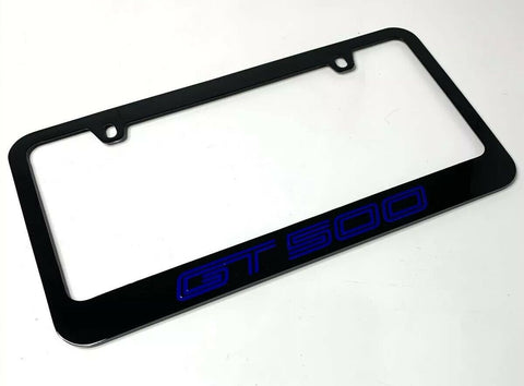 Image of Mustang Shelby GT500 Black License Plate Frame (Premium Engraved Letters) - 4