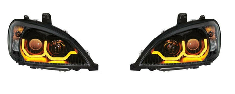 "Image of Pair ""Blackout"" Headlights with Dual LED Amber Light Bar for Freightliner Columbia - 3"