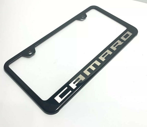 Image of Chevy Camaro License Plate Frame - Black w/ Silver Logo - Main