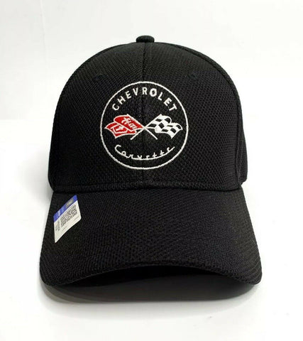Image of Chevy C1 Corvette Hat / Cap - Black Flexfit Style w/ Crossed Flags Emblem - 1
