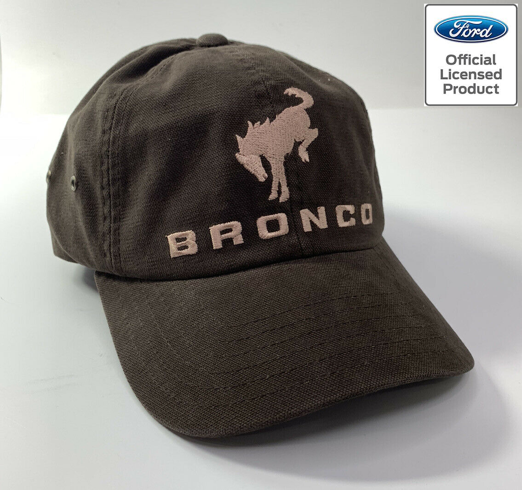 New 2021 Ford Bronco Hat / Cap - Brown w/ Embroidered Tan Bronco Emblem & Script
