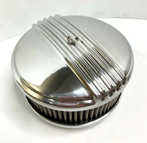 "Image of Polished Half Finned Aluminum Air Cleaner - 4 Barrel 6-3/8"" Show Quality - 5"