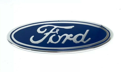"Image of Ford Grill Tailgate Oval Emblem - 9"" Blue & Chrome Premium Billet Aluminum - 1"