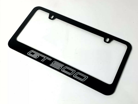 Mustang Shelby GT500 Black License Plate Frame (Premium Engraved Letters) - 2