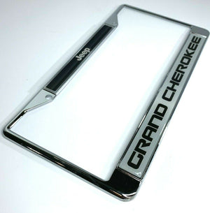 Jeep Grand Cherokee License Plate Frame - Chrome w/ Black Big Emblem - Main
