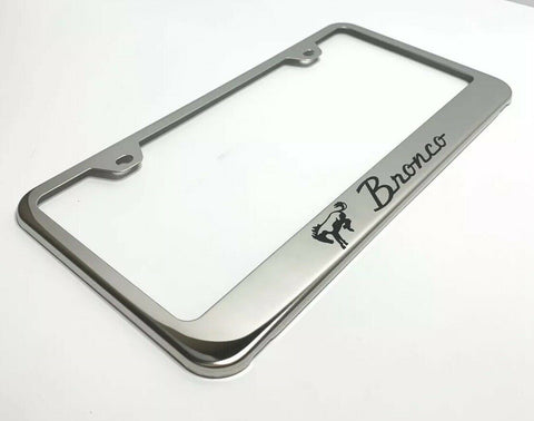 Ford Bronco License Plate Frame - Chrome w/ Black Logo - Main