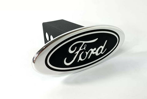 "Image of Ford Oval Emblem Hitch Cover - Black with Chrome Aluminum Plug For 2"" Inch Receivers"