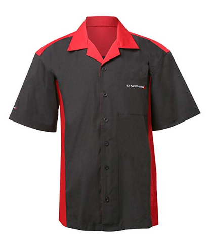 Mechanic Style Button Up Shirt - Black & Red W/ White & Red Dodge Emblem - 1